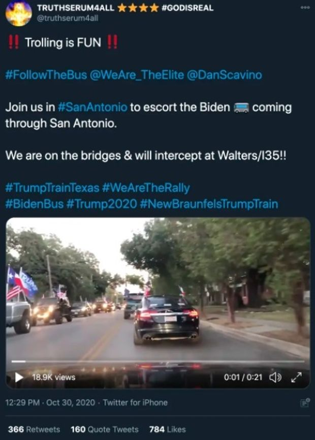 'I love Texas!' President Trump cheers on supporters as they swarm Biden bus — now the FBI is involved